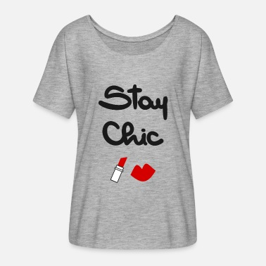 stay chic quote with red lips and lipstick - Women's Flowy T-Shirt