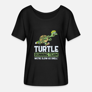 Zombie Turtle running Team we`re slow as shell - Women's Flowy T-Shirt
