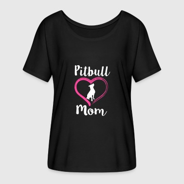 Pitbull Mom Womens Shirt - Cute Pit Bull Dog gift - Women's Flowy T-Shirt