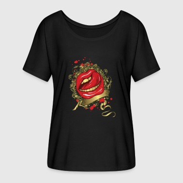 Lip Tongue Tongue Stroking a Red Lips - Women's Flowy T-Shirt