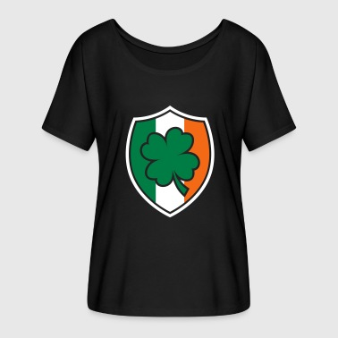 St Patricks day Irish Flag Clover Shield Beer Gift - Women's Flowy T-Shirt