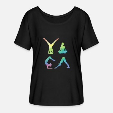 Tantra Yoga figures doing yoga Aquarell gift idea fitness - Women's Flowy T-Shirt