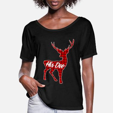 Doe His Doe Couples Vintage Matching Christmas Pajamas - Women's Flowy T-Shirt