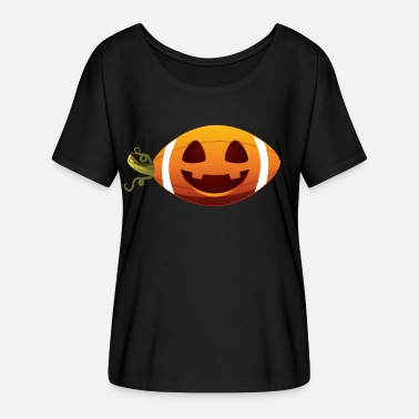 Football American Football with Halloween Pumpkin Face - Women's Flowy T-Shirt