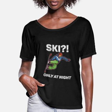 Boarders Ski?! Only At Night - Women's Flowy T-Shirt