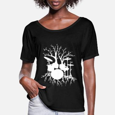 Tree Drum Tree Art Music Muscians Gift Idea Tee New Dru - Women's Flowy T-Shirt
