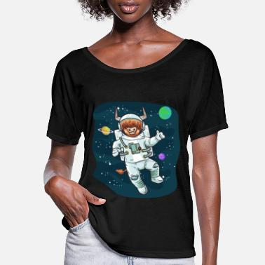 Bull Scottish Highland Cow Space Cow Bull Breeder Gift - Women's Flowy T-Shirt