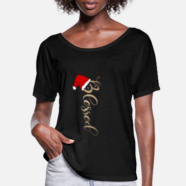 Christmas Vertical Christmas Design - 'Blessed' with Cute - Women's Flowy T-Shirt