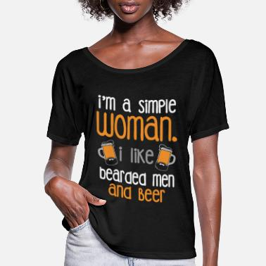 Beard I like bearded men and beer - Women's Flowy T-Shirt