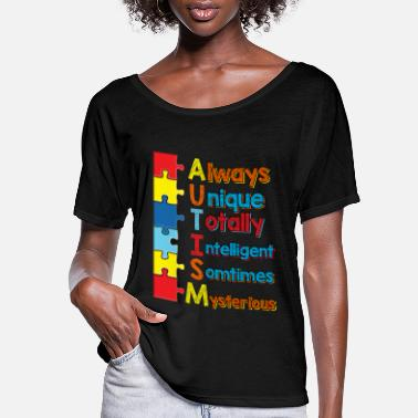 National Autism Awareness Month 2019 Always Unique Totally Intelligent Mysterious - Women's Flowy T-Shirt