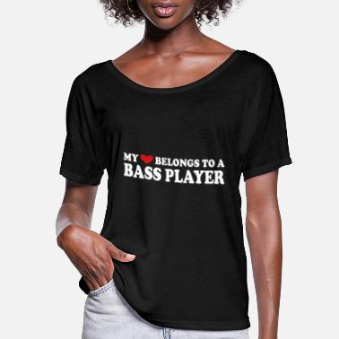 Heart MY HEART BELONGS TO A BASS PLAYER - Women's Flowy T-Shirt