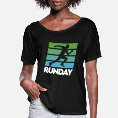 Work Out Runday Motivation Runner Marathon Vintage Retro - Women's Flowy T-Shirt