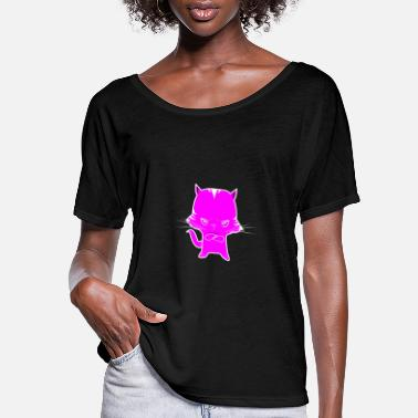 Kawai Angry Cat Cute Angry Kitten Style Pumi Cats Tee - Women's Flowy T-Shirt
