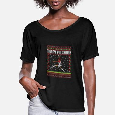 Ugly Softball Pitcher Ugly Christmas Sweater Holiday T- - Women's Flowy T-Shirt