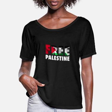Occupation Free Palestine - The Palestinian Flag Graphic - Women's Flowy T-Shirt