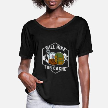 Cache Will hike for cache - Women's Flowy T-Shirt