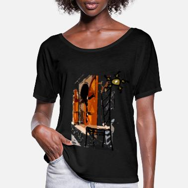 Graphic Art A chair street view of Europe graphic art - Women's Flowy T-Shirt