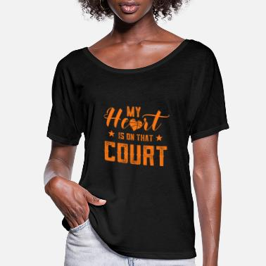 Court Basketball dad and mom heart is on that court T-Sh - Women's Flowy T-Shirt