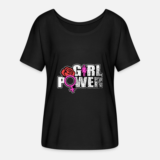 Power T-Shirts - girl power gift rose woman equal fight rights - Women's Flowy T-Shirt black