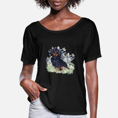 Painting Dachshund with flowers - Women's Flowy T-Shirt