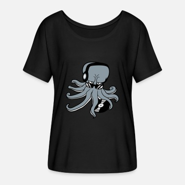 Dj-octopus-music sunglasses dj music party celebrate dancing club d - Women's Flowy T-Shirt