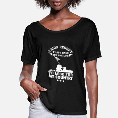 Navy My country-I only have a life to lose for country - Women's Flowy T-Shirt