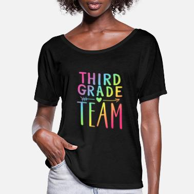 Grade Third Grade Team Neon Rainbow Teacher T-Shirts - Women's Flowy T-Shirt