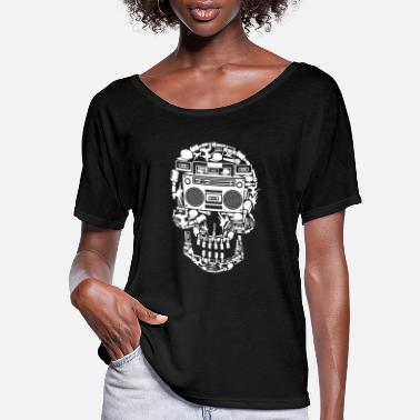 Hop Boombox Skull 90s Rap Hip Hop Old School Gift Idea - Women's Flowy T-Shirt