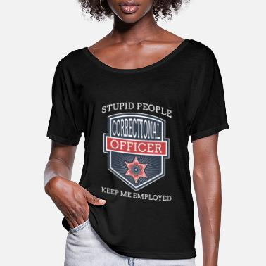Grey Stupid People Corrections Officer Thin Silver Line - Women's Flowy T-Shirt