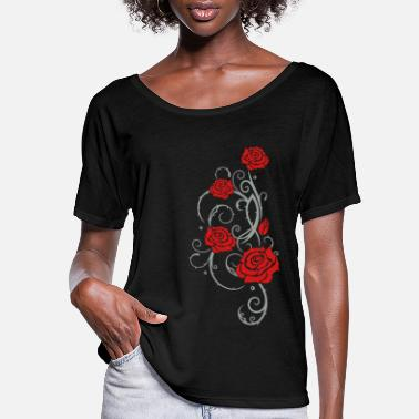 Rose Beautiful red roses with thorns and leaves. - Women's Flowy T-Shirt