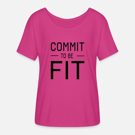 Fitness T-Shirts - Commit to be Fit - Women's Flowy T-Shirt dark pink
