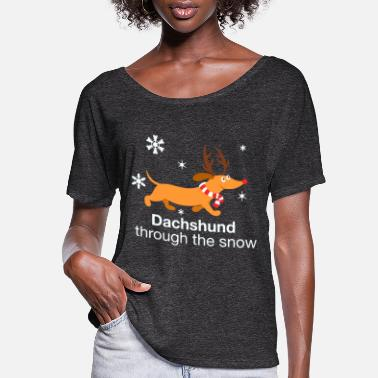 Dachshund through the snow - Women's Flowy T-Shirt
