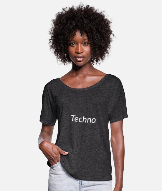 Techno Music T-Shirts - techno music present - Women's Flowy T-Shirt charcoal gray
