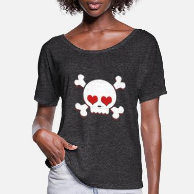 Cute Skull Heart Valentines Day Pirate Flag - Women's Flowy T-Shirt