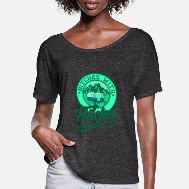 Retro Bitches With Hitches Retro Camping Camper Gift - Women's Flowy T-Shirt