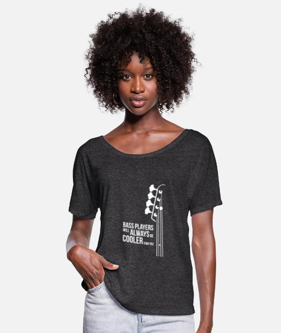 Bass Player T-Shirts - Bass Guitar Players Are Cool - Women's Flowy T-Shirt charcoal gray
