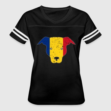 Romanian Flag Funny Dog Romanian Flag Canine - Women's Vintage Sport T-Shirt