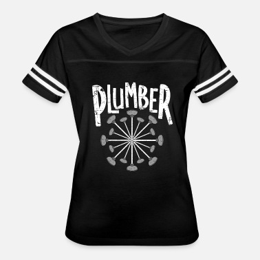 Text Circle Plumber Toilet Plunger Circle White Text - Women's Vintage Sport T-Shirt