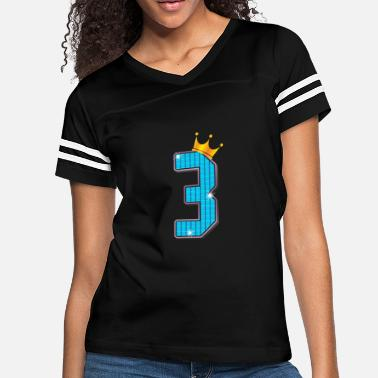 3rd Birthday Cool Shiny 3rd Birthday Gold Crown Sparkles - Women's Vintage Sport T-Shirt