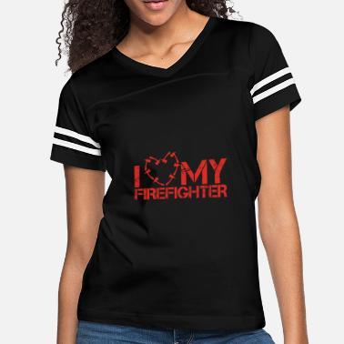 I Love My Wife With All My Heart I love my Firefighter | Wife Axe Heart - Women's Vintage Sport T-Shirt