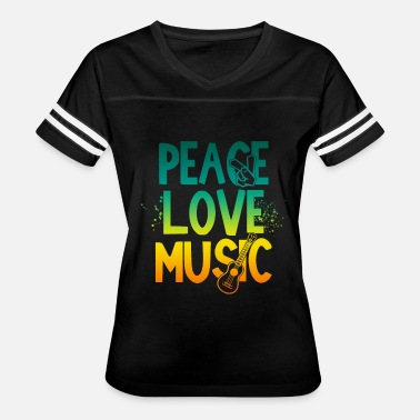 Peace And Music Guitar Hippie Peace Love Music guitar gift birthday vibes - Women's Vintage Sport T-Shirt