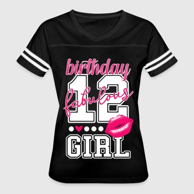 12th birthday girl pink kiss college Style number - Women's Vintage Sport T-Shirt