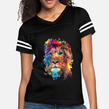 Lion Face Colorful Lion Tshirt Lion Face shirt - Women's Vintage Sport T-Shirt