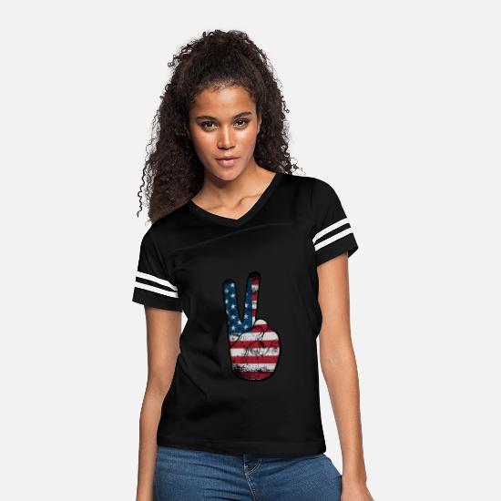 American T-Shirts - Peace Hand Sign - American Flag V Handsign - Women's Vintage Sport T-Shirt black/white