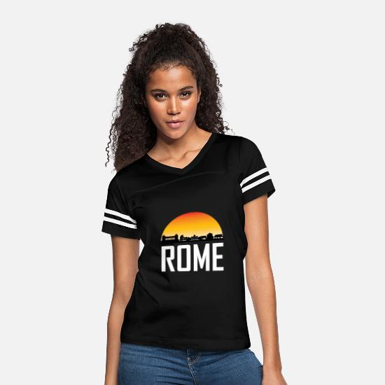 Souvenir T-Shirts - Sunset Skyline Silhouette of Rome Italy - Women's Vintage Sport T-Shirt black/white