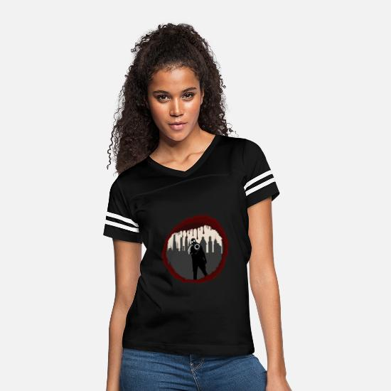 Horror T-Shirts - Zombie Control (Shooter) - Women's Vintage Sport T-Shirt black/white