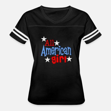 Cute Patriotic American Girl Fun Cute Flag Patriotic - Women's Vintage Sport T-Shirt