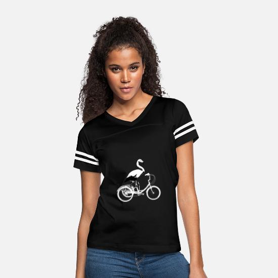 Bird T-Shirts - Flamingo Riding Tricycle Funny Humor Animal - Women's Vintage Sport T-Shirt black/white
