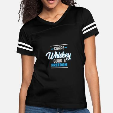 deef9fa3c4 Funny Cigars Whiskey Guns And Freedom Designs - Women's Vintage Sport T