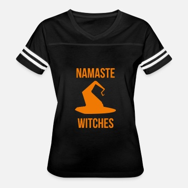 Flying Witch On Broom Namaste Witches Halloween Fly On A Broom - Women's Vintage Sport T-Shirt
